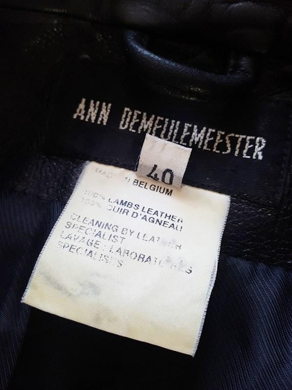 vintage Ann Demeulemeester black leather asymmetric coat fall 1998 175729