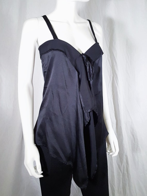 vintage Ann Demeulemeester black tie-front draped top spring 2002 143043