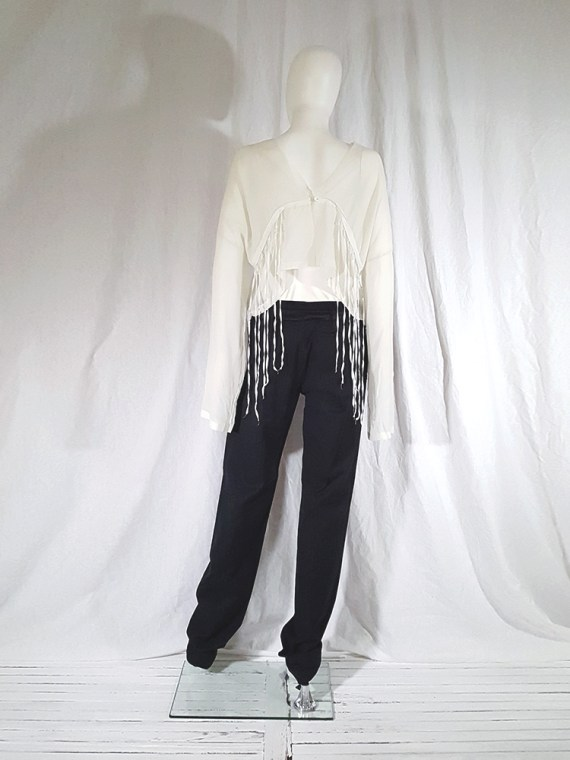 vintage Ann Demeulemeester black trousers with torn waist 142915