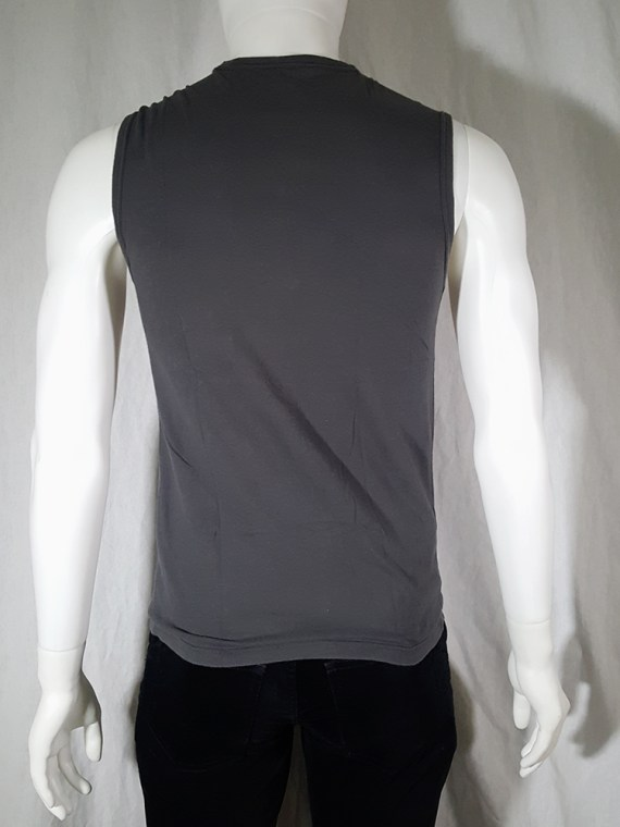 vintage Ann Demeulemeester grey sleeveless t-shirt with beaded quote spring 2000 141311