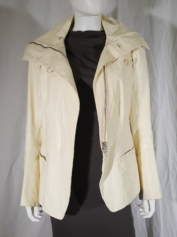 vintage Ann Demeulemeester white asymmetric leather jacket with furry trim 135730