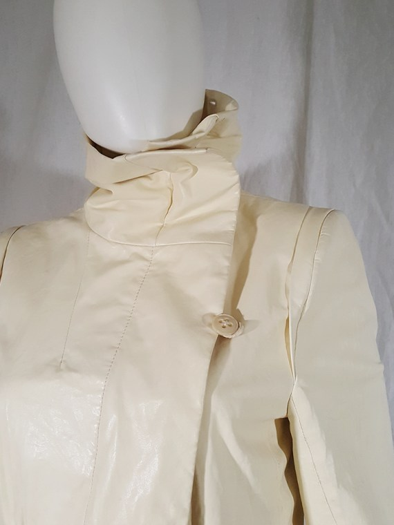 vintage Ann Demeulemeester white asymmetric leather jacket with furry trim 135919