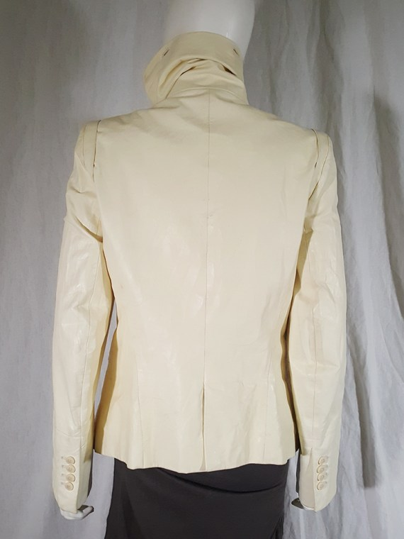 vintage Ann Demeulemeester white asymmetric leather jacket with furry trim 140017