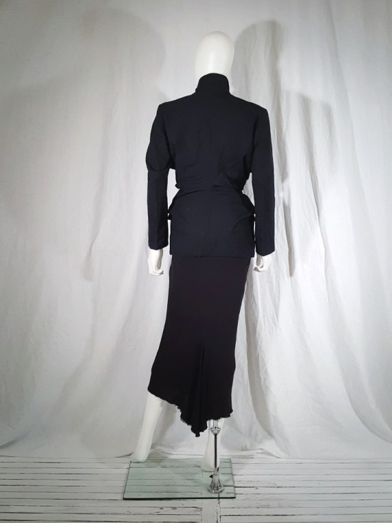 vintage Comme des Garçons black blazer with gathered waist — fall 1990