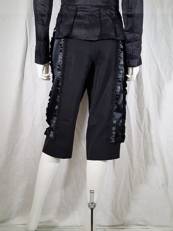 vintage Comme des Garcons black trousers with ruffles back panels fall 2008 134456