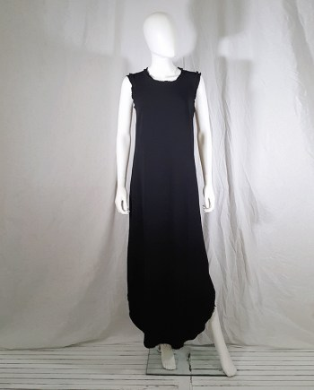 vintage Maison Martin Margiela black sleeveless dress with circular hem — spring 2002