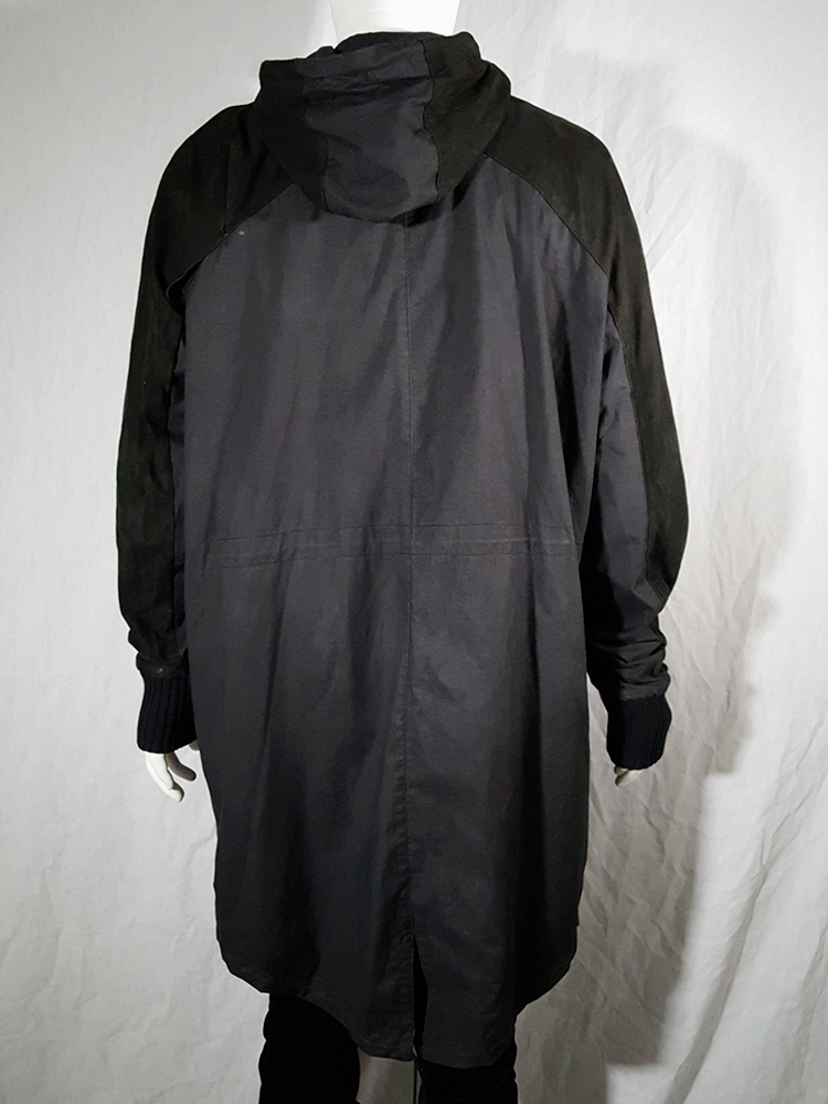Silent by Damir Doma black parka with leather sleeves