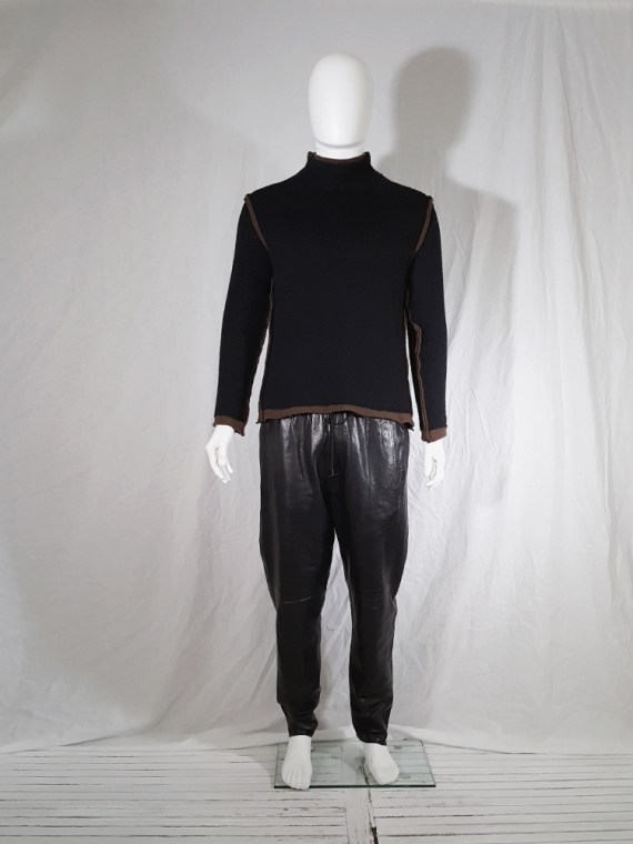 vintage Comme des Garcons Shirt black and brown double layered jumper 145557