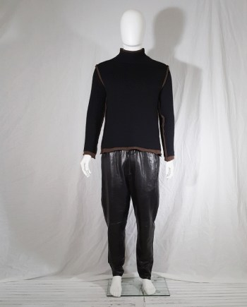 Comme des Garçons Shirt black and brown double layered jumper