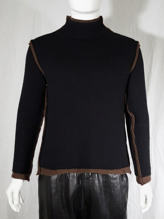 vintage Comme des Garcons Shirt black and brown double layered jumper 145618