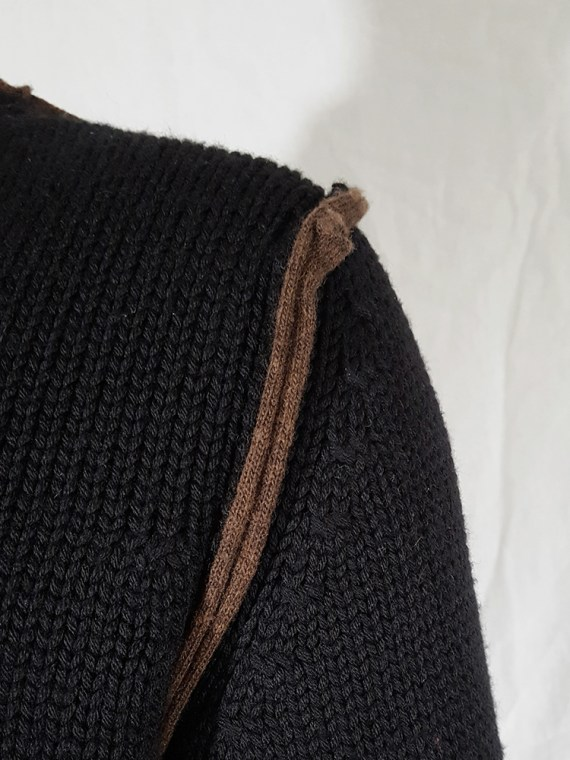 vintage Comme des Garcons Shirt black and brown double layered jumper 145649