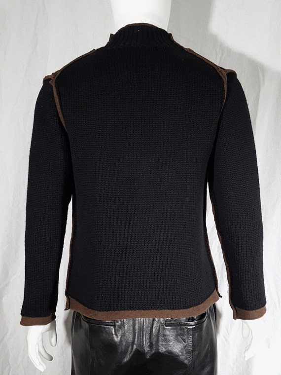 vintage Comme des Garcons Shirt black and brown double layered jumper 145835