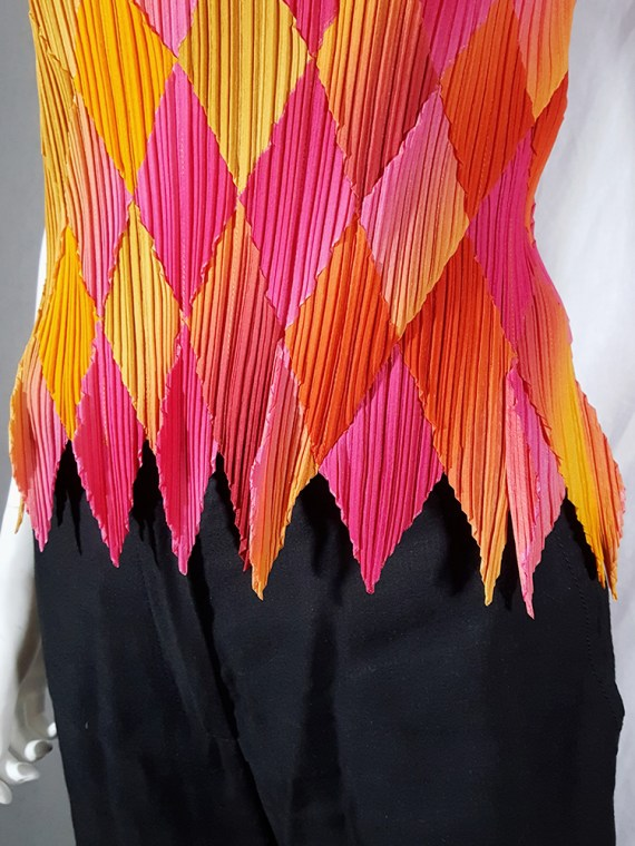 vintage Issey Miyake Fete orange and pink harlequin top 164120