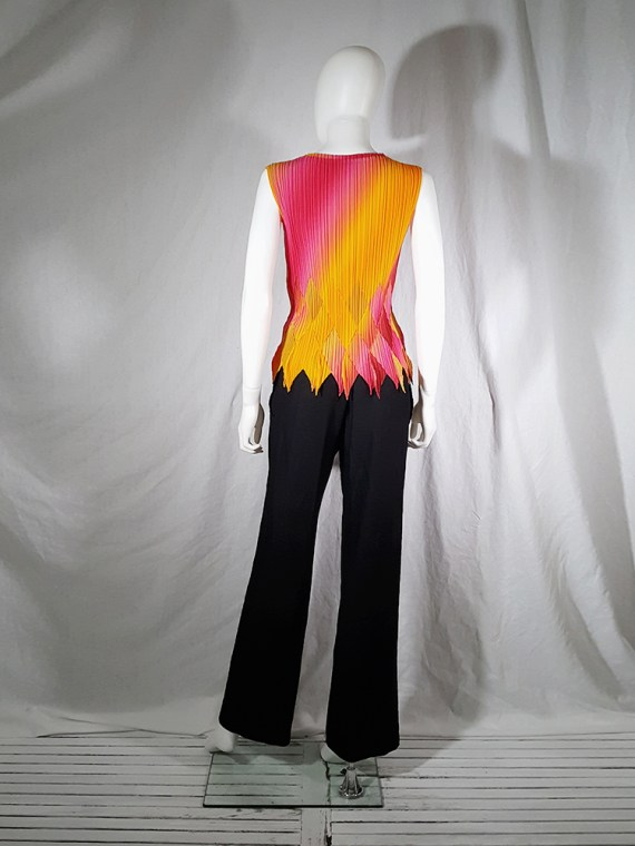 vintage Issey Miyake Fete orange and pink harlequin top 164212