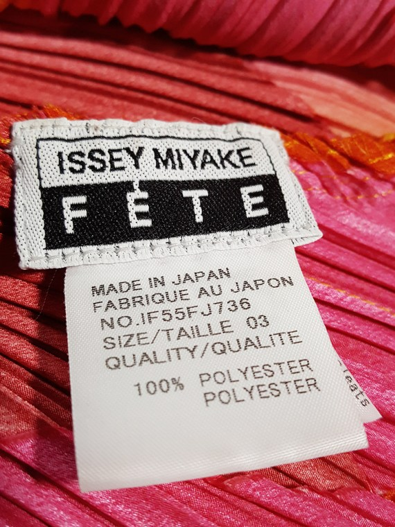 Issey Miyake Fete orange and pink harlequin top