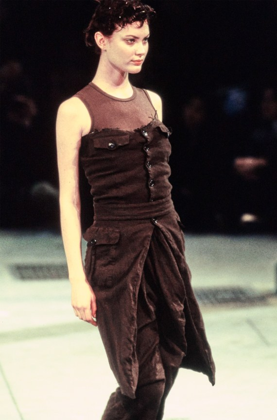 archive Comme des Garcons brown strapless button up dress — fall 1994