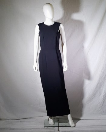 Maison Martin Margiela dark blue maxi dress with press button back — spring 1999