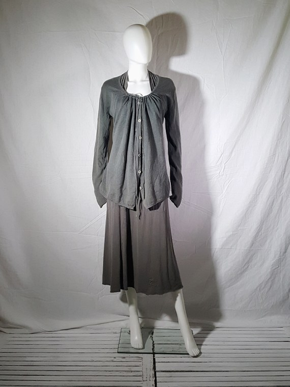 vintage Ann Demeulemeester grey cardigan with back straps 174904