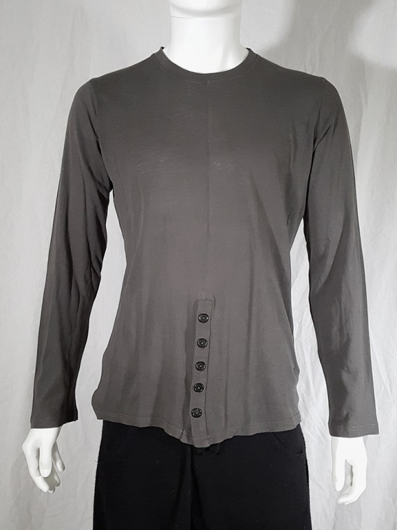 vintage Ann Demeulemeester grey-green longsleeve with front button detail 152026