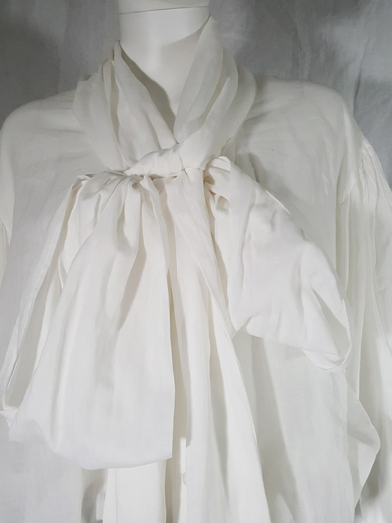 vintage Dries Van Noten white poet blouse with long scarf collar 162501(0)