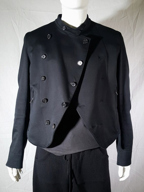 vintage mens Ann Demeulemeester black double breasted military jacket 145512