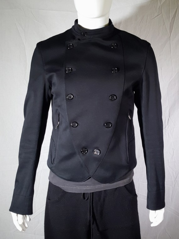 vintage mens Ann Demeulemeester black double breasted military jacket 183932