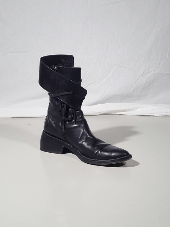 Ann Demeulemeester black pirate boots with curved heel 3042