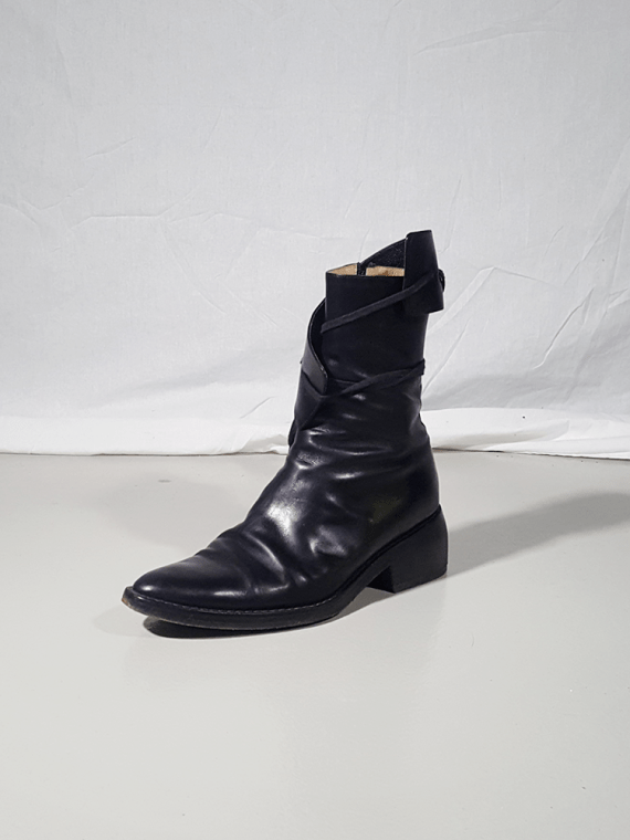 Ann Demeulemeester black pirate boots with curved heel 3112