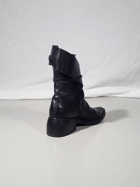 Ann Demeulemeester black pirate boots with curved heel 3201