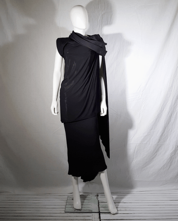 Rick Owens VICIOUS black asymmetric draped top with hood — spring 2014
