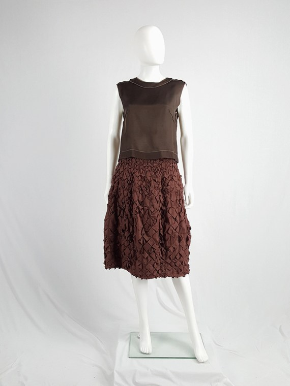 vintage Issey Miyake brown skirt with origami flowers 124935