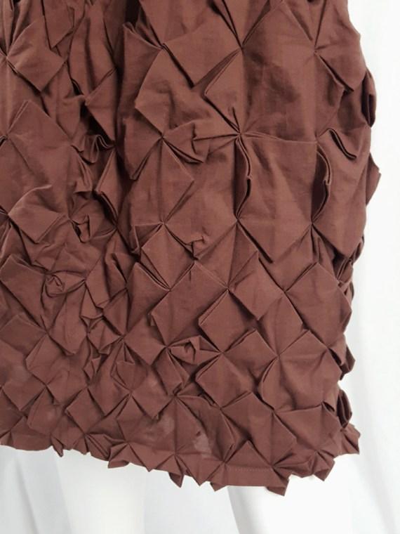 vintage Issey Miyake brown skirt with origami flowers 125106