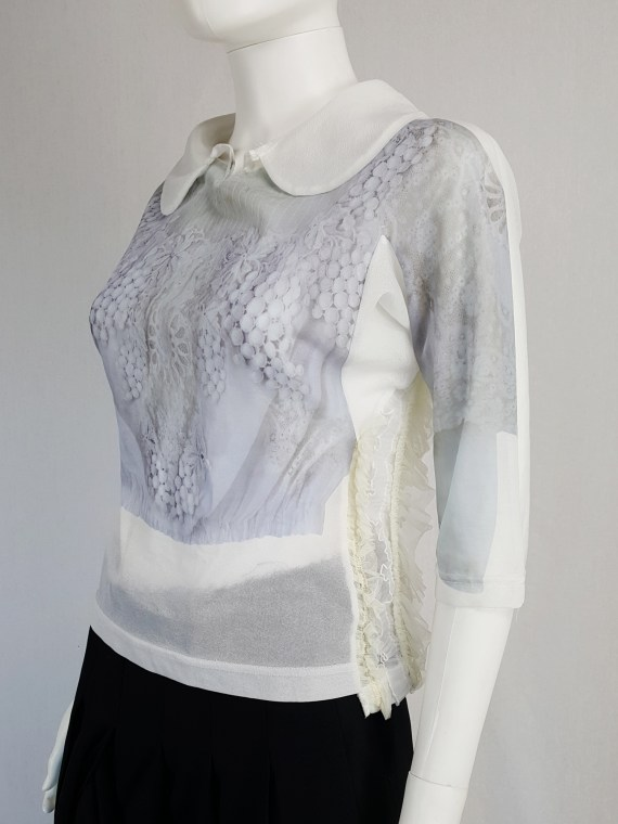 vintage Comme des Garcons white printed top with frilled side detail fall 2005 122141