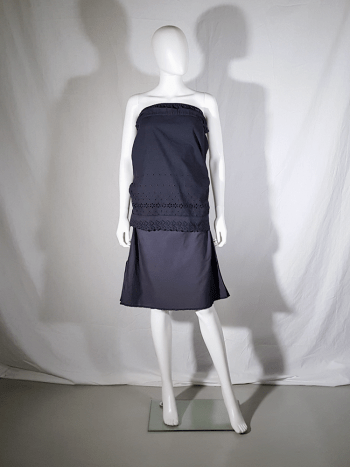 vintage Maison Martin Margiela artisanal blue dress made of skirt linings — spring 2004