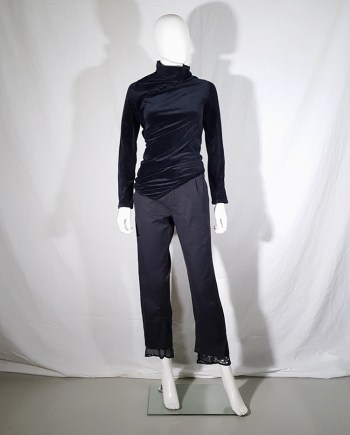 Comme des Garçons dark blue velvet twisted top — fall 2002