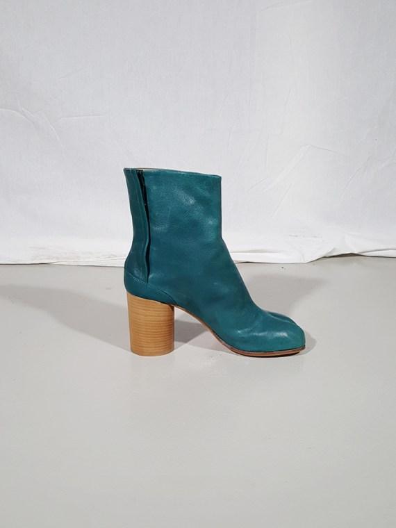 vintage Maison Martin Margiela green tabi boots with wooden block heel 181502