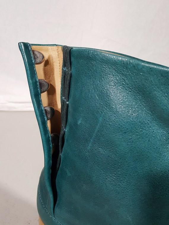 vintage Maison Martin Margiela green tabi boots with wooden block heel 181754