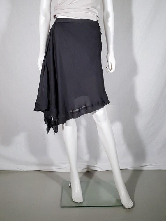 vintage Rick Owens ANTHEM grey asymmetric draped skirt spring 2011 155128