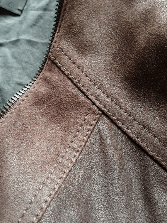 Haider Ackermann brown leather jacket with curved zipper — spring 2009