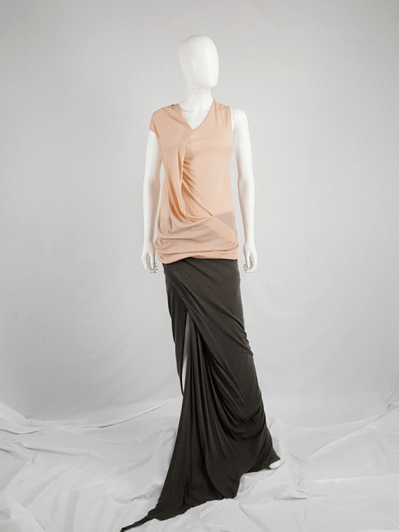vintage Ann Demeulemeester orange asymmetric draped top 124403