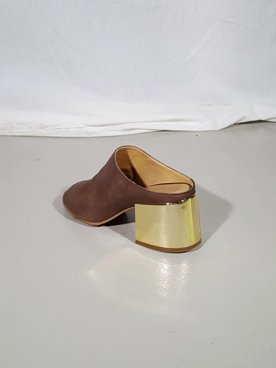 vintage Maison Martin Margiela MM6 brown mules with gold block heel spring 2017 182205