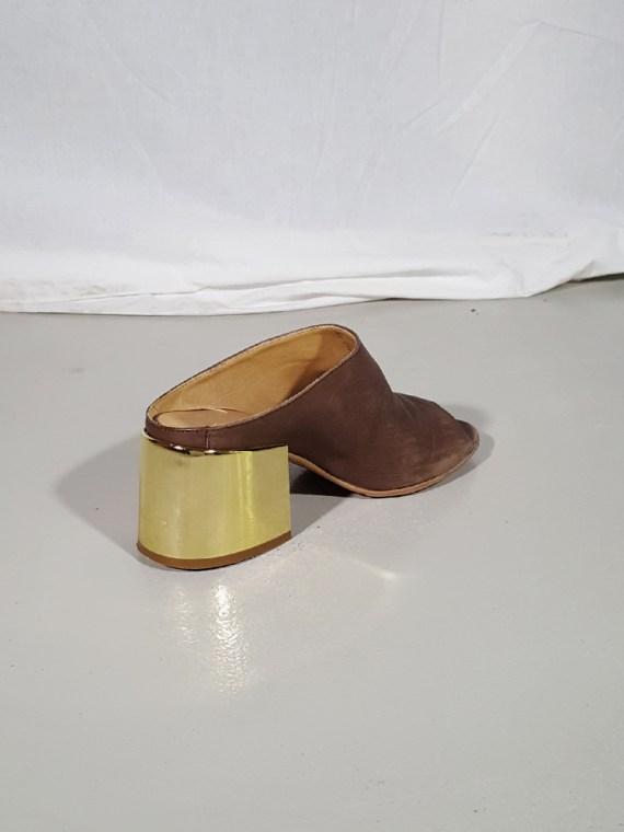 Margiela MM6 brown mules with gold block heel — spring 2017