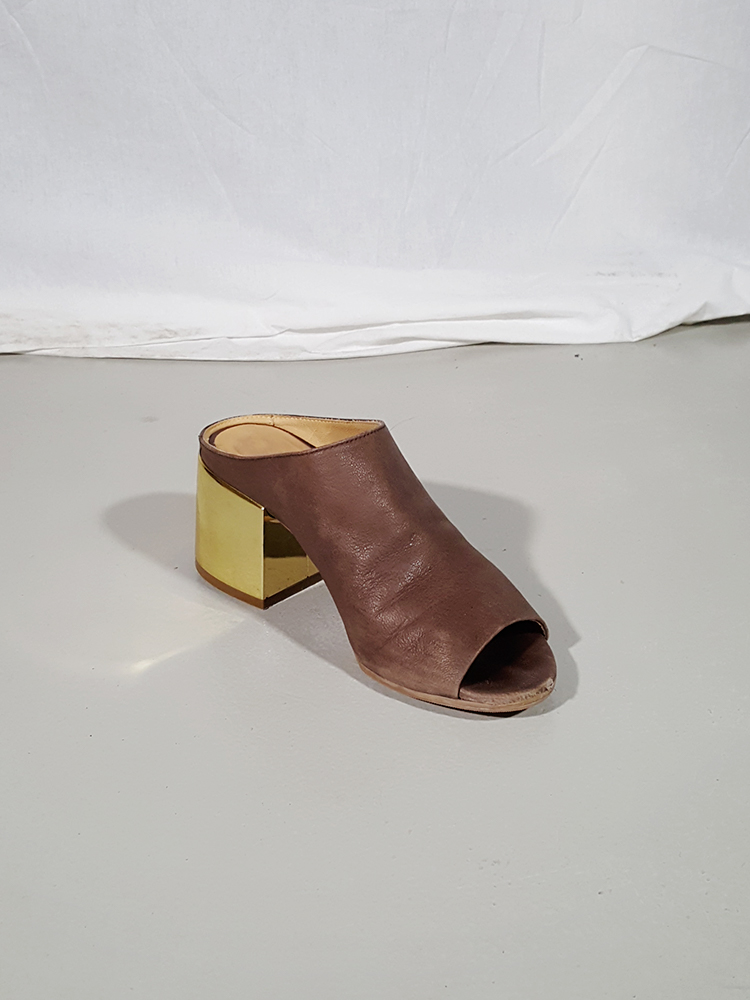 Margiela MM6 brown mules with gold block heel — spring 2017