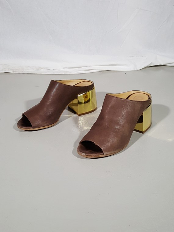 vintage Maison Martin Margiela MM6 brown mules with gold block heel spring 2017 182407