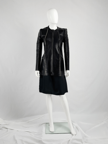 Maison Martin Margiela black leather flat jacket — spring 1998