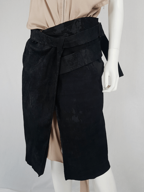 vintage Haider Ackermann black leather wrap skirt spring 2011 152745