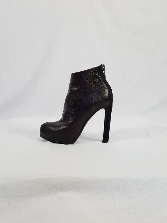 vintage Haider Ackermann brown ankle boots with back zipper fall 2010 102050