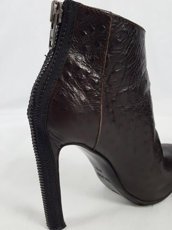 Haider Ackermann brown ankle boots with back zipper (37.5) — fall 2010