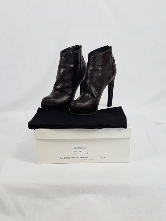 vintage Haider Ackermann brown ankle boots with back zipper fall 2010 103427
