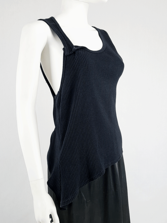 vintage Maison Martin Margiela black asymmetric stretched out top fall 2006 100630